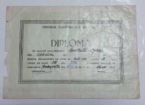 Diploma obţinută în anul 1971 de columbofilul Gavrilă Oprea
